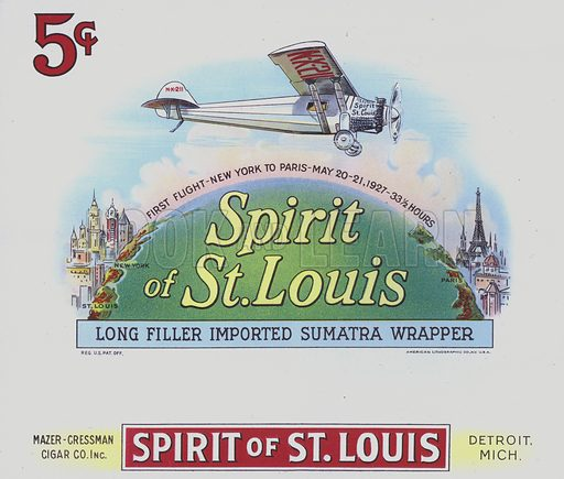 "Cigar box label depicting the ""Spirit of St Louis"" - commemorating Charles Lindbergh's first non-stop flight from New York to Paris on 20-21 May 1927."