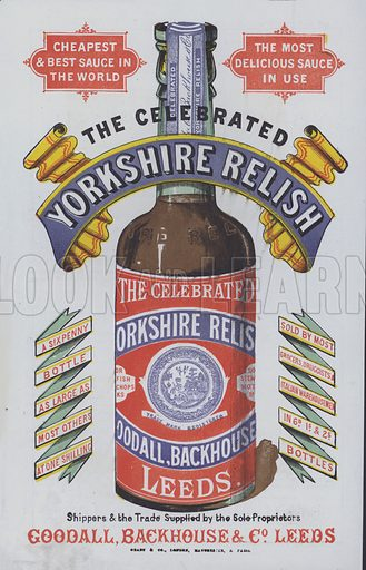 Advertisement for Yorkshire Relish by Goodall, Blackhouse and Co, Leeds.
