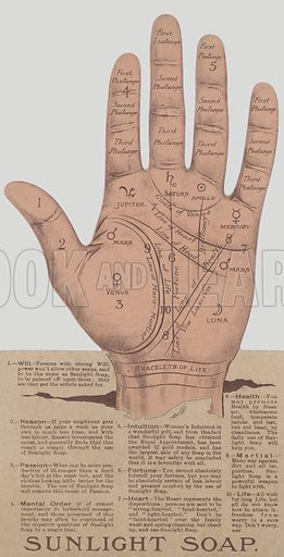 Advertisement for Sunlight soap showing the lines and features of a hand that enable a palm reader to predict someone's future.