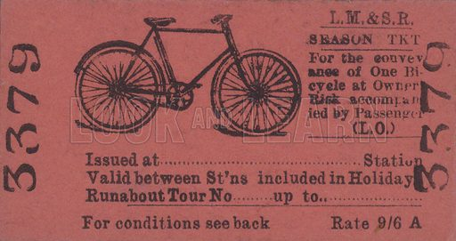 A London, Midland and Scottish Railway season ticket for travel with a bicycle.