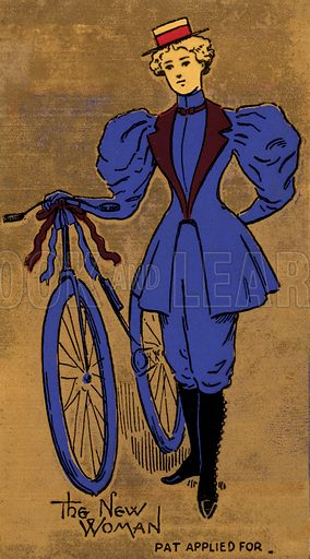 Late 19th or early 20th century woman and her bicycle, a symbol of the beginning of women's liberation.