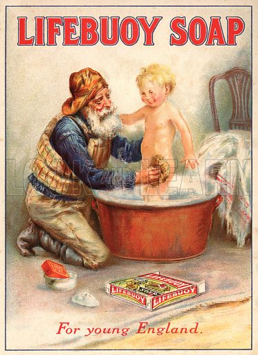 Advertisement for Lifebuoy soap showing a lifeboatman bathing a child.