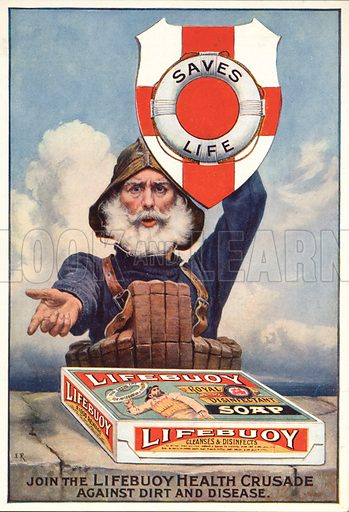 Advertisement for Lifebuoy soap with the message that the soap fights dirt and disease.