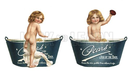 Advertisement for Pears soap depicting a child at bath time.