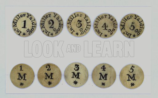 Georgian hop tokens used by a farmer named Miller to pay his workers at Yalding, Kent.