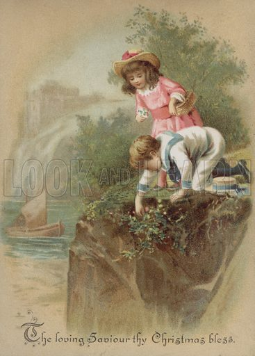 Children picking flowers on a riverbank, Christmas card.