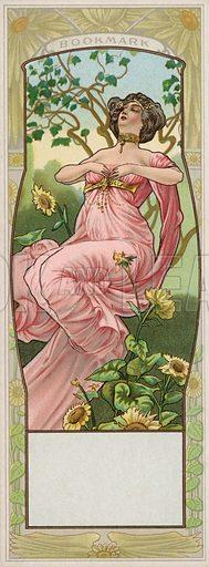 Woman in a garden, bookmark.