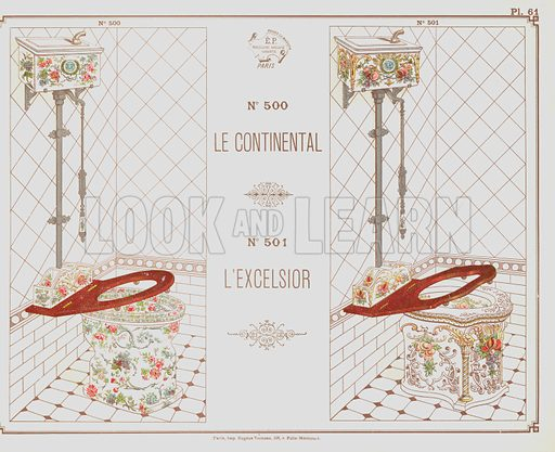 Catalogue advertisement for Continental and Excelsior toilet designs