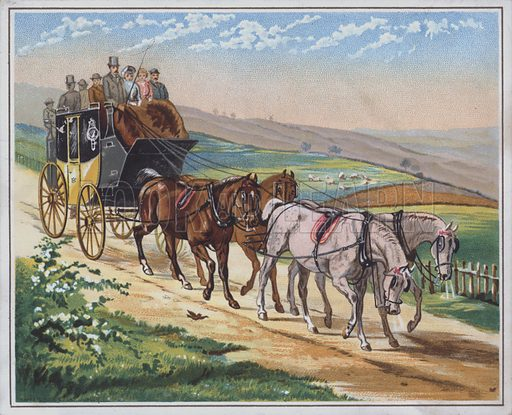 Mail stagecoach travelling along a country road.