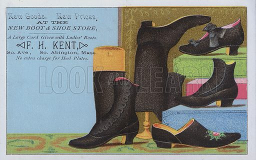 Advertisement for FH Kent boot and shoe store, Abingdon, Massachusetts, USA.