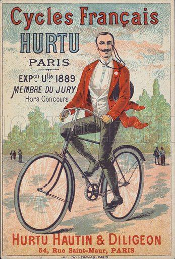 Advertisement for Hurtu Hautin & Diligeon bicycles, Paris.