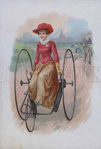 Woman riding a tricycle.