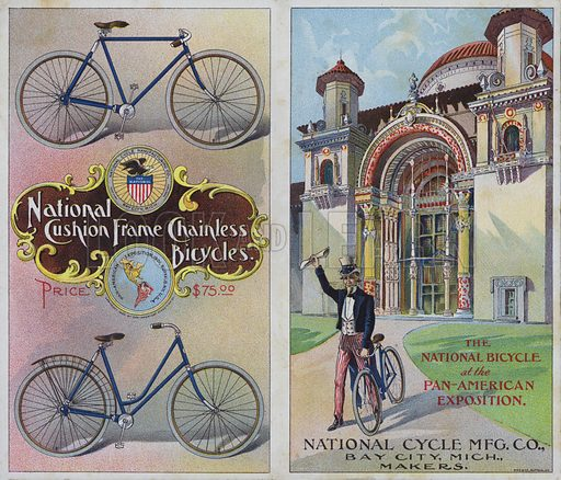 Advertisement for the National Cycle Manufacturing Company, exhibitors at the Pan-American Exposition, Buffalo, New York, USA, 1901.