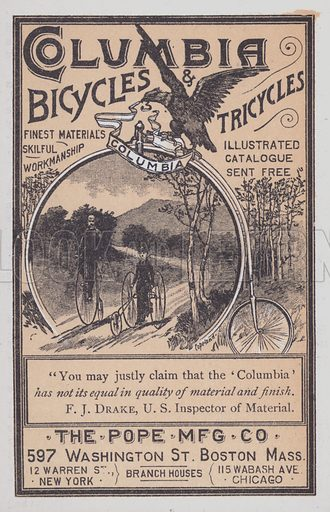 Advertisement for Columbia bicycles and tricycles from the Pope Manufacturing Co, Boston, Massachusetts, USA