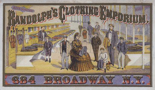 Advertisement for Randolph's Clothing Emporium, 684 Broadway, New York, USA.