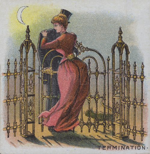 Termination – a couple embracing by a garden gate at the end of a day.