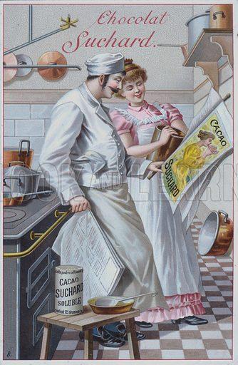 Kitchen scene, advertisement for Suchard cocoa.