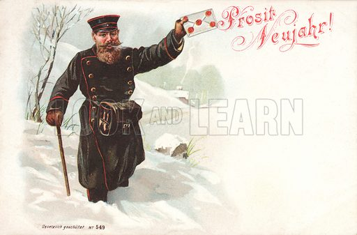 Postman delivering a letter in the snow, New Year's greetings card.
