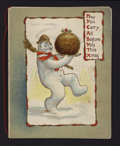 Snowman carrying a Christmas pudding