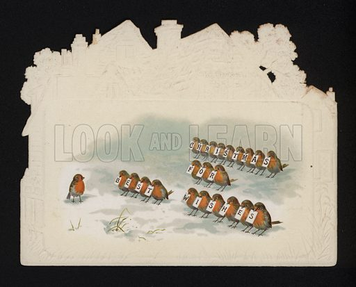 Parade of robins, Christmas greetings card, late 19th or early 20th Century