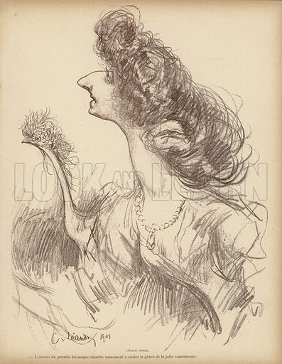 Caricature of French comic actress Cecile Sorel