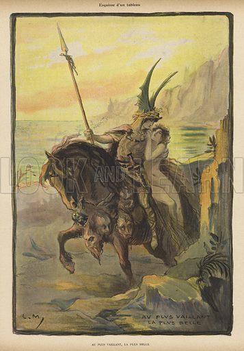 Sketch for a painting: Au Plus Vaillant, la Plus Belle (To the Bravest, the Most Beautiful)