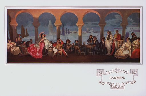 Carmen.  Illustration for a souvenir booklet published by Peter Robinson Ltd in 1924, featuring in particular the operatic murals in its restaurant.