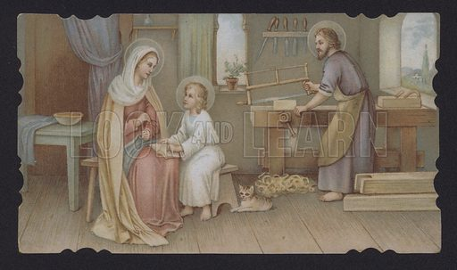 Jesus Christ as a boy with his mother, Mary, in Joseph's carpentry shop
