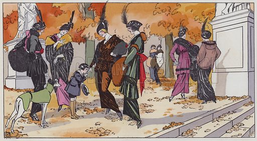 Women's fashion from the 1910s. Illustration from Art-Gout-Beaute - Feuillets de L'Elegance Feminine, October 1913. French fashion magazine.