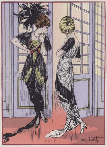 Women's fashion from the 1910s by designer Zimmermann. Illustration from Art-Gout-Beaute - Feuillets de L'Elegance Feminine, October 1913. French fashion magazine.