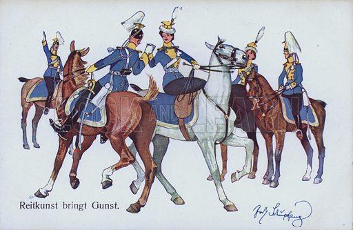 Horsemanship brings favour, German humorous military postcard. Postcard, early 20th century.