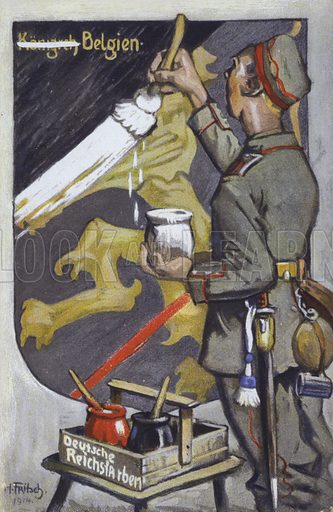 German soldier painting over the emblem of Belgian royalty, First World War propaganda postcard. Postcard, early 20th century.