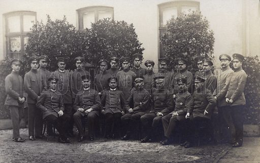 Group of German army officers. Postcard, early 20th century.