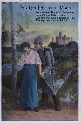 Stolzenfels Castle on the River Rhine, German military themed postcard. Postcard, early 20th century.