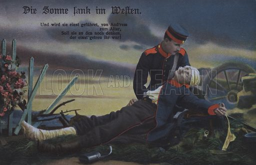 The Sun set in the west: a German soldier comforting his dying comrade on the battlefield. Postcard, early 20th century.