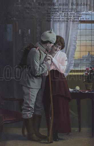 German soldier saying farewell to his wife before going off to war. Postcard, early 20th century.