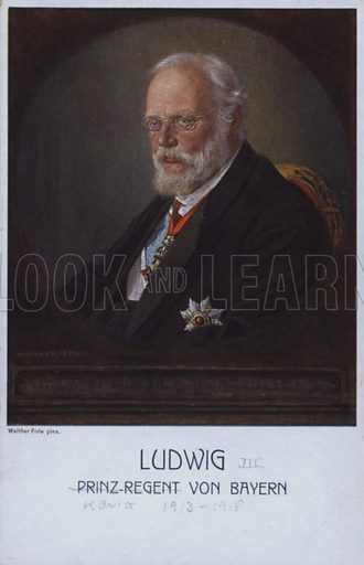 Ludwig III (1845-1921), last King of Bavaria, when Prince Regent. Postcard, early 20th Century.