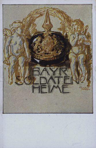 Bavarian soldier's helmet. Postcard, early 20th Century.