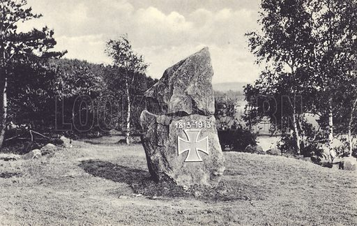 Stone commemorating the centenary of the liberation of the German states from Napoleon in the War of the Sixth Coalition in 1813. Postcard, early 20th Century.