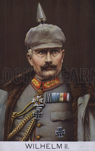 Kaiser Wilhelm II of Germany in military uniform. Postcard, early 20th Century.