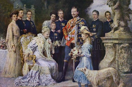 Kaiser Wilhelm II and the German Imperial Family, 1906. Postcard, early 20th Century.