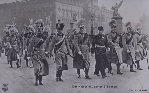 Kaiser Wilhelm II of Germany and his six sons in military uniform. Postcard, early 20th Century.