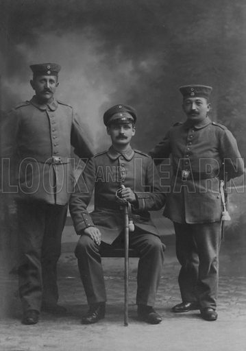 Portrait of three German soldiers. Postcard, early 20th Century.