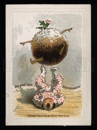 Boy balancing a Christmas pudding on his feet, Christmas greetings card, late 19th century.
