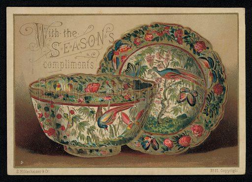 Oriental ceramics depicting exotic birds, Christmas greetings card, late 19th century.