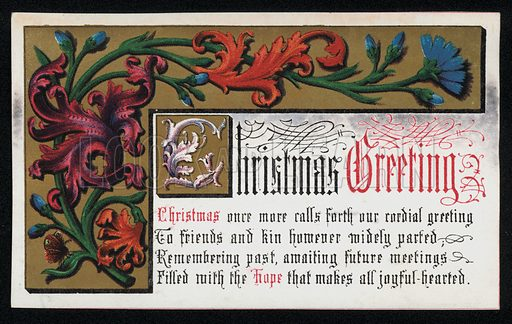 A verse with floral scroll pattern, Christmas greetings card, late 19th century.