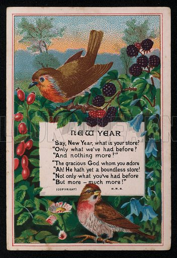 Verse, berries and birds, New Year's greetings card, late 19th century.