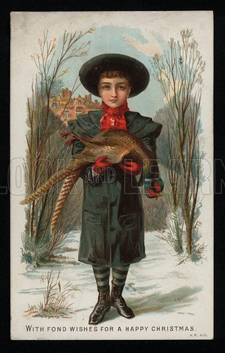 Boy holding a pheasant, Christmas greetings card