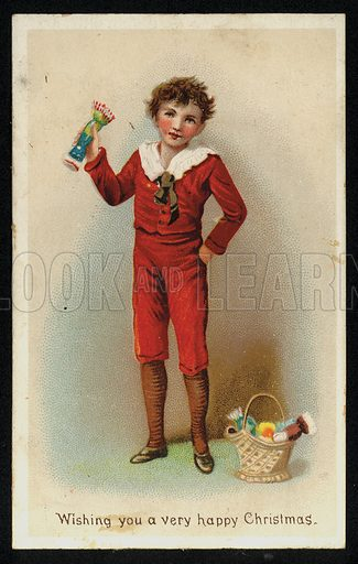 Boy with a basket of Christmas crackers, greetings card