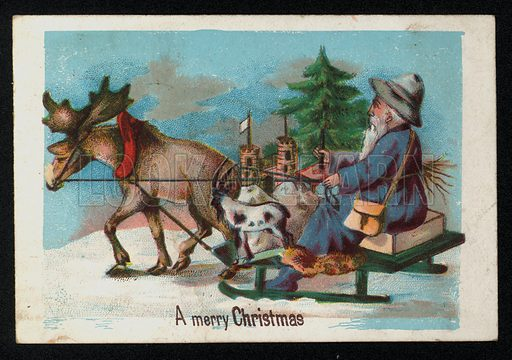 Man on a sleigh pulled by a moose, Christmas greetings card, late 19th century.